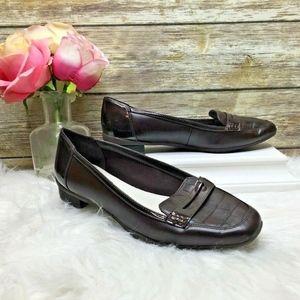 Anne Klein Romy Brown Faux Croc Trim Loafers